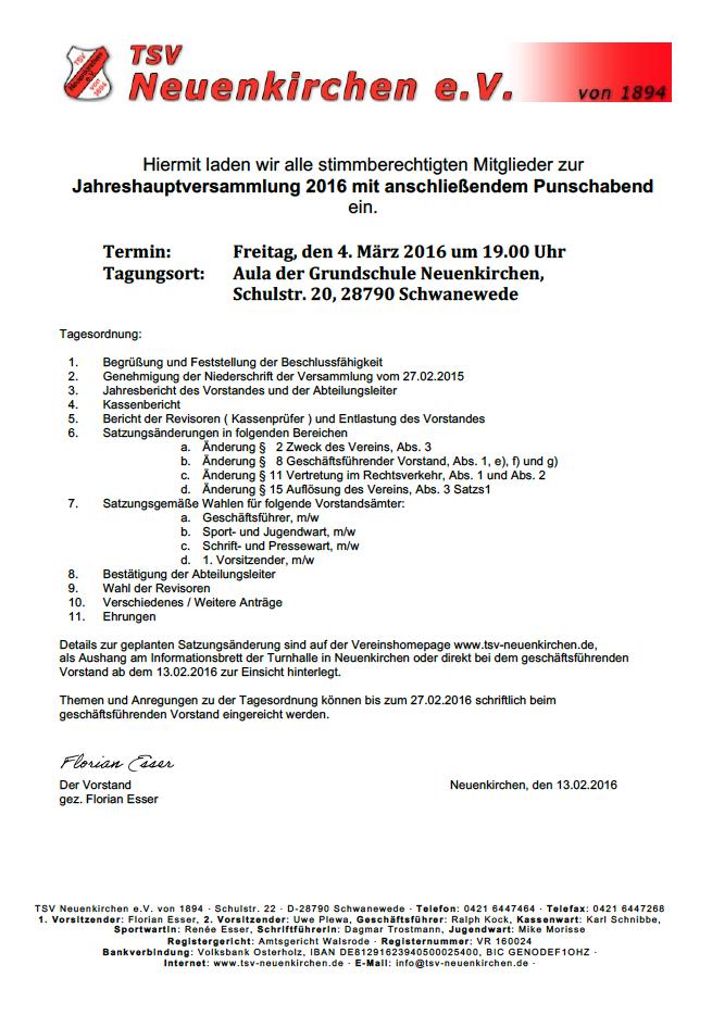 tsv neuenkirchen e.v. | startseite, Einladung